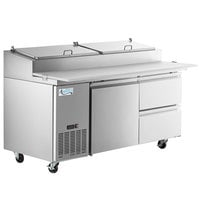 Avantco SSPPT-2B 67 inch 1 Door Refrigerated Pizza Prep Table with 2 Drawers
