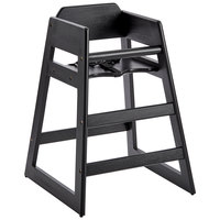 Ready-to-Assemble Stacking Restaurant Wood High Chair with Black Finish