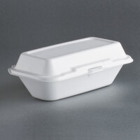 Dart Solo 99HT1R 10 inch x 5 1/2 inch x 3 inch White Foam Hoagie Take Out Container with Perforated Hinged Lid - 500 / Case