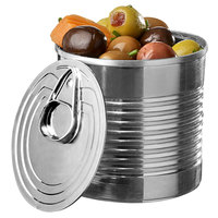 Solia PS34515 3.7 oz. Silver Plastic Tin Can with Lid - 200/Case