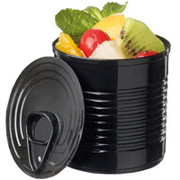 Solia PS34507 2 oz. Black Plastic Tin Can with Lid - 200/Case