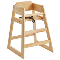 Assembled Stacking Restaurant Wood High Chair with Natural Finish
