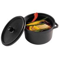 Solia PS30390 3 oz. Mini Black Plastic Cooking Pot with Lid   - 300/Case