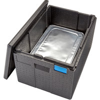Cambro EPP180XLTSW110 Cam GoBox® Extra Large Full Size 8 inch Deep Top Loader Insulated Food Pan Carrier with Black Lid - 24 inch x 17 inch x 15 1/2 inch