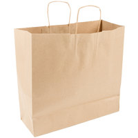 Duro Debonair Natural Kraft Paper Shopping Bag with Handles 16 inch x 6 inch x 15 3/4 inch - 200/Bundle