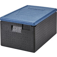Cambro EPP180CLSW362 Cam GoBox® Full Size 8 inch Deep Top Loader Insulated Food Pan Carrier with Blue Lid - 24 inch x 16 inch x 12 1/2 inch