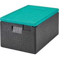 Cambro EPP180CLSW360 Cam GoBox® Full Size 8 inch Deep Top Loader Insulated Food Pan Carrier with Green Lid - 24 inch x 16 inch x 12 1/2 inch