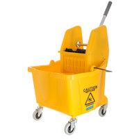 Carlisle 3690504 Flo-Pac 35 Qt. Yellow Mop Bucket & Down Press Wringer Combo