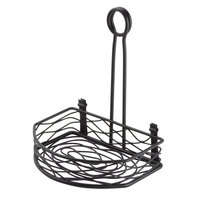 American Metalcraft SRBNB1 Black Half Round Wrought Iron Birdnest Condiment Caddy with Card Holder - 8 inch x 5 5/8 inch x 9 1/8 inch