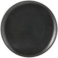 Front of the House DDP018BKP22 Spiral Ink 11 inch Semi-Matte Black Round Porcelain Plate - 6/Case