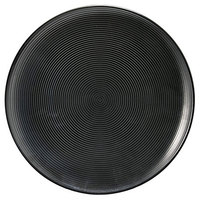 Front of the House DAP059BKP22 Spiral Ink 7 1/4 inch Semi-Matte Black Round Porcelain Plate - 6/Case