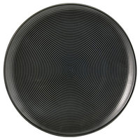 Front of the House DBB001BKP23 Spiral Ink 6 1/2 inch Semi-Matte Black Round Porcelain Plate - 12/Case