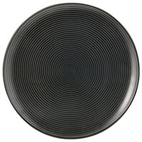 Front of the House DSP008BKP23 Spiral Ink 8 inch Semi-Matte Black Round Porcelain Plate - 12/Case