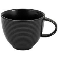 Front of the House DCS023BKP23 Spiral Ink 8 oz. Semi-Matte Black Porcelain Cup - 12/Case