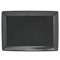 Front of the House DSP001BKP23 Spiral Ink 7 inch x 5 inch Semi-Matte Black Rectangular Porcelain Plate - 12/Case