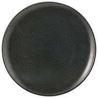 Front of the House DSP022BKP22 Spiral Ink 9 1/2 inch Semi-Matte Black Round Porcelain Plate - 6/Case