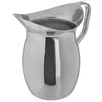 Carlisle 609273 3 Qt. 18/8 Mirror Polish Stainless Steel Bell Pitcher with Handle