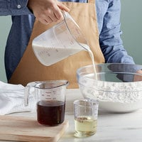 Choice 3-Piece Allergen Free Clear Plastic Measuring Cup Set with Purple Print and Gradations
