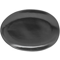 Front of the House DAP077BKP23 Tides 5 1/2 inch x 4 inch Semi-Matte Mussel Oval Porcelain Plate - 12/Case