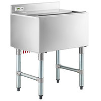Regency 18 inch x 24 inch Underbar Ice Bin with 7 Circuit Post-Mix Cold Plate, Sliding Lid, and Bottle Holders - 77 lb.