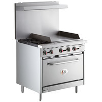 Cooking Performance Group S36-G24-N Natural Gas 2 Burner 36 inch Range with 24 inch Griddle and Standard Oven - 130,000 BTU