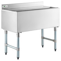 Regency 18 inch x 36 inch Underbar Ice Bin with 7 Circuit Post-Mix Cold Plate, Sliding Lid, and Bottle Holders - 119 lb.