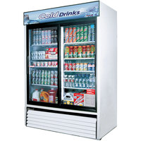 Turbo Air TGM-48R 56 inch White Two Sliding Glass Door Refrigerated Merchandiser