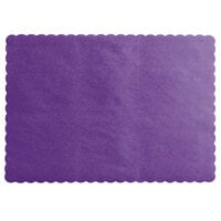 Choice 10 inch x 14 inch Purple Colored Paper Placemat with Scalloped Edge   - 1000/Case