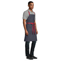 Uncommon Threads 3121 Confetti Denim Customizable Poly-Cotton Deviate Bib Apron with Red Webbing and 7 Pockets - 34 inchL x 31 inchW