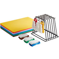 20 inch x 15 inch x 1/2 inch 6-Board Color-Coded Cutting Board System with Rack and 6 Brushes