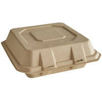 Tellus Products TE20F 9 inch x 9 inch Natural Bagasse Clamshell Container   - 200/Case