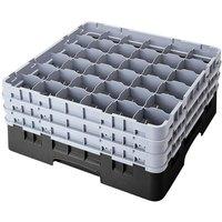 Cambro 36S534110 Black Camrack Customizable 36 Compartment 6 1/8 inch Glass Rack