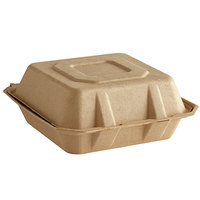 Tellus Products 8 inch x 8 inch Natural Bagasse Clamshell Container - 200/Case