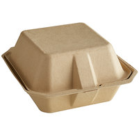 Tellus Products TE30F 6 inch x 6 inch Natural Bagasse Clamshell Container - 400/Case