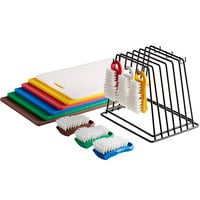 18 inch x 12 inch x 1/2 inch 6-Board Color-Coded Cutting Board System with Rack and 6 Brushes