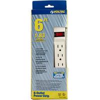 Voltec 11-00223 6' White 6-Outlet Power Strip - 1875W