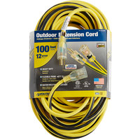 Voltec 05-00366 100' Yellow/Black 12/3 3-Conductor SJTW Extension Cord - 300V