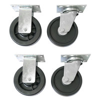 Wesco Industrial Products 250046 5 inch x 1 1/2 inch 750 lb. Capacity Polyolefin Swivel and Rigid Caster Set for ATP and ASD Series Platform Trucks - 4/Set
