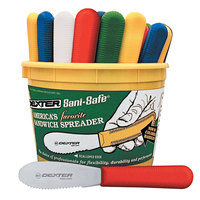 Dexter-Russell 18553 Sani-Safe Bucket of (48) 3 1/2 inch Scalloped Sandwich Spreaders in Assorted Colors