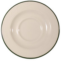 Homer Laughlin 1569615 Lyrica Lydia Green 5 1/2 inch Off White China Saucer - 36/Case
