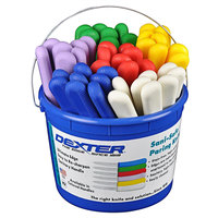 Dexter-Russell 15483 Sani-Safe Bucket of (48) 3 1/2 inch Smooth Paring Knives in Assorted Colors