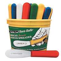 Dexter-Russell 18513 Sani-Safe Bucket of (48) 3 1/2 inch Smooth Sandwich Spreaders in Assorted Colors