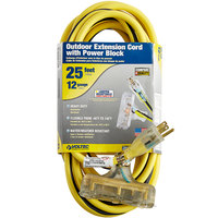 Voltec 05-00123 25' Yellow/Black 12/3 3-Conductor SJTW Triple Outlet Extension Cord - 300V