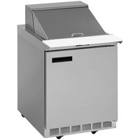 Delfield 4427NP-9M 27 inch 1 Door Mega Top Front Breathing Refrigerated Sandwich Prep Table with 3 inch Casters