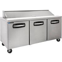 Master-Bilt MBSP72-18A-019 72 inch 3 Door Refrigerated Sandwich Prep Table