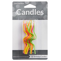 Creative Converting 101025 Crazy Curl Assorted Bright Color Candle - 12/Pack
