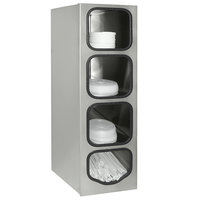 Tomlinson 1019768 Stainless Steel 4 Compartment Countertop Lid / Straw Cabinet