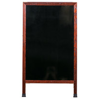 Aarco MA-11 42 inch x 24 inch Cherry A-Frame Sign Board with Black Marker Board