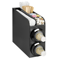 Tomlinson 1021894 Simpli-Flex Black 2-Slot Vertical 3.5 - 44 oz. Adjustable Countertop Cup Dispenser Cabinet with Top Condiment Organizer
