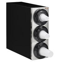 Tomlinson 1015778 Simpli-Flex 2100 Black 3-Slot 3.5 - 44 oz. Countertop Cup Dispenser Cabinet